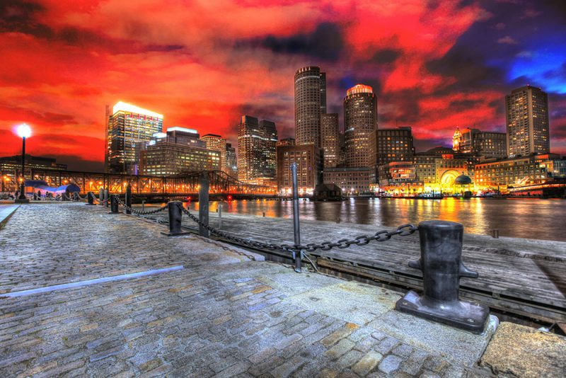 Boston Cityscape at Night 01 - Stock Photos, Pictures & Images
