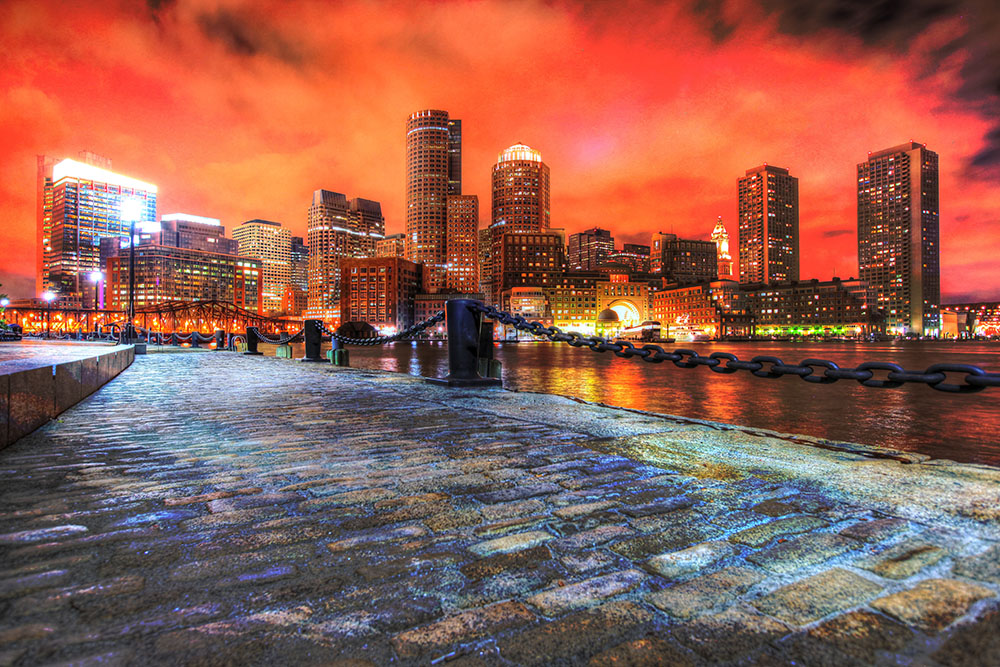 Boston Cityscape at Night 02 - Stock Photos, Pictures & Images