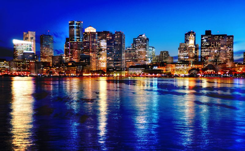 Boston Cityscape at Night 03 - Stock Photos, Pictures & Images