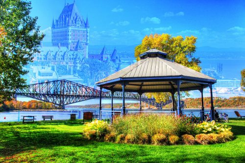 Quebec City Park and Bridge - Stock Photos, Pictures & Images