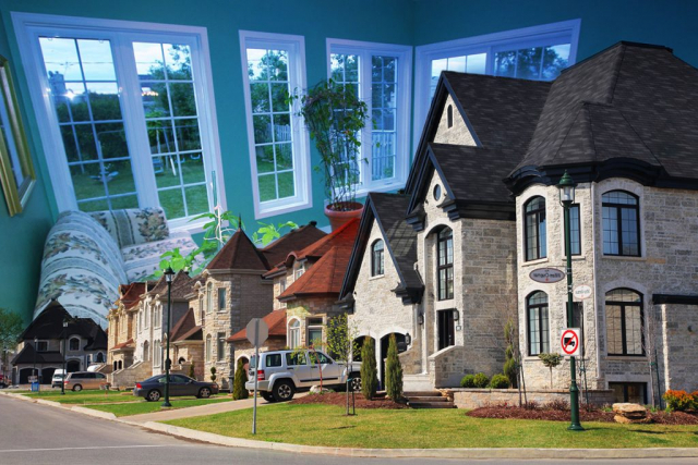 Cozy Neighborhood Photo Montage - Stock Photos, Pictures & Images