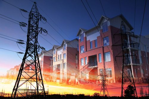 Domestic Energy Lines Photo Montage - Stock Photos, Pictures & Images