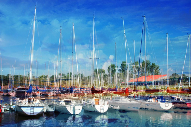 Sail Boats Marina Photo Montage - Stock Photos, Pictures & Images