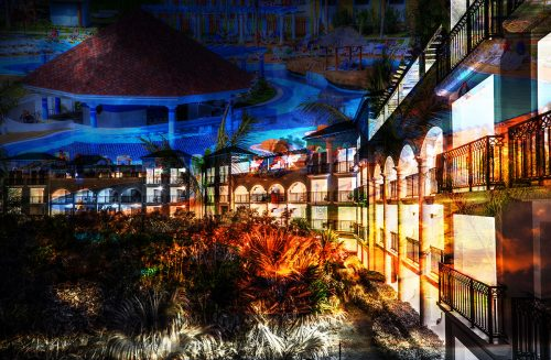Caribbean Hotel Photo Montage - Stock Photos, Pictures & Images