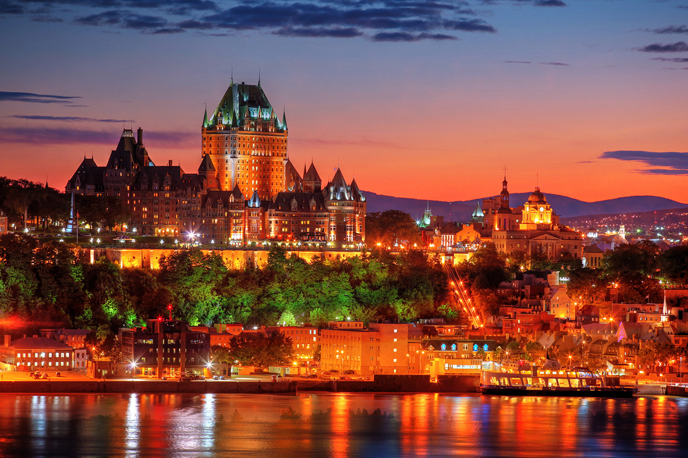 Quebec Frontenac Castle Montage 02 - Stock Photos, Pictures & Images