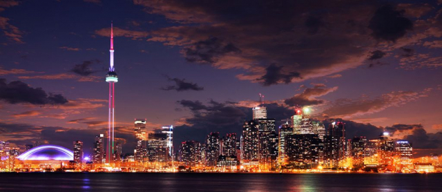 Toronto City Nighttime Skyline - Stock Photos, Pictures & Images