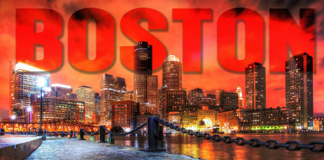 Boston City with Text 1 - Stock Photos, Pictures & Images