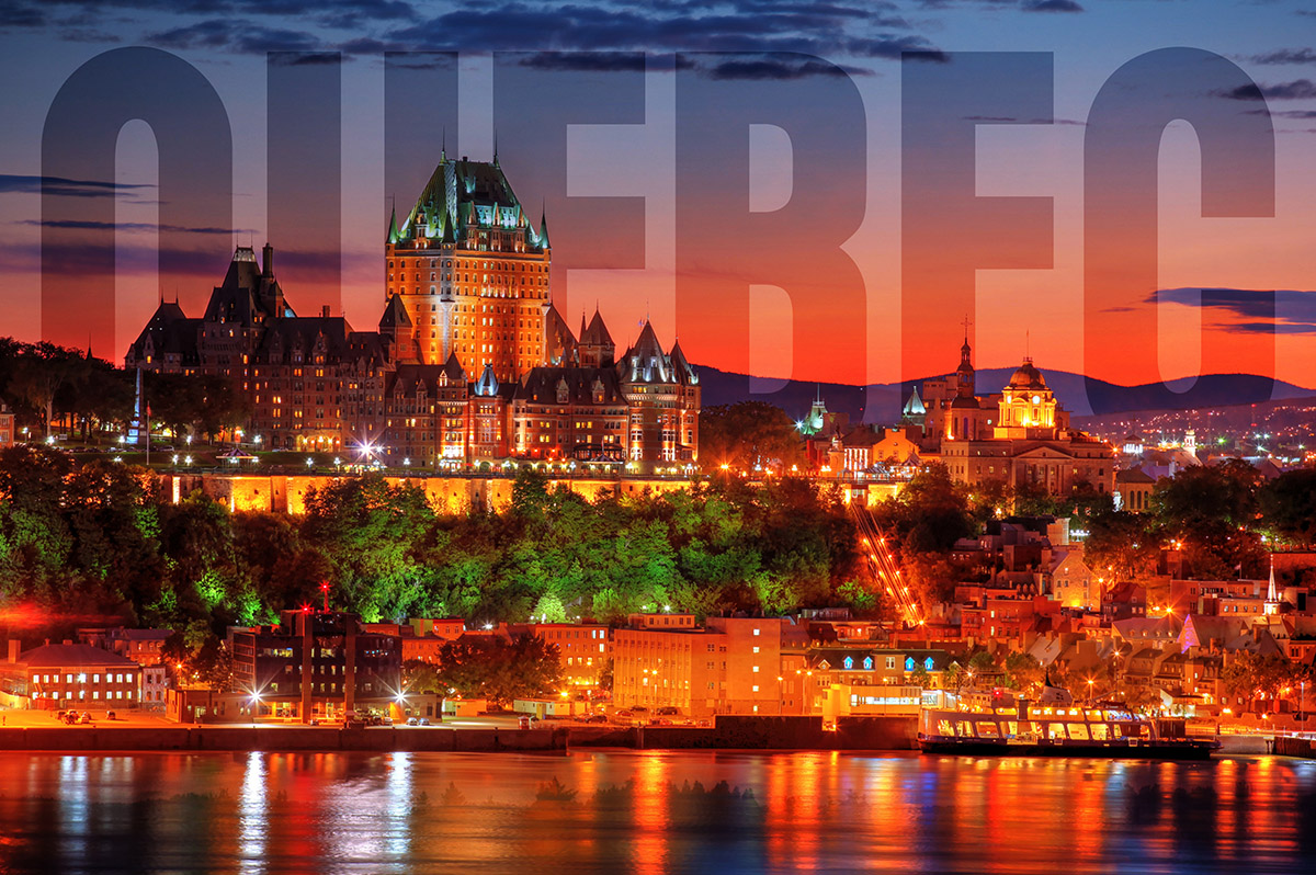 Quebec Frontenac Castle Montage with Text 02 - Stock Photos, Pictures & Images