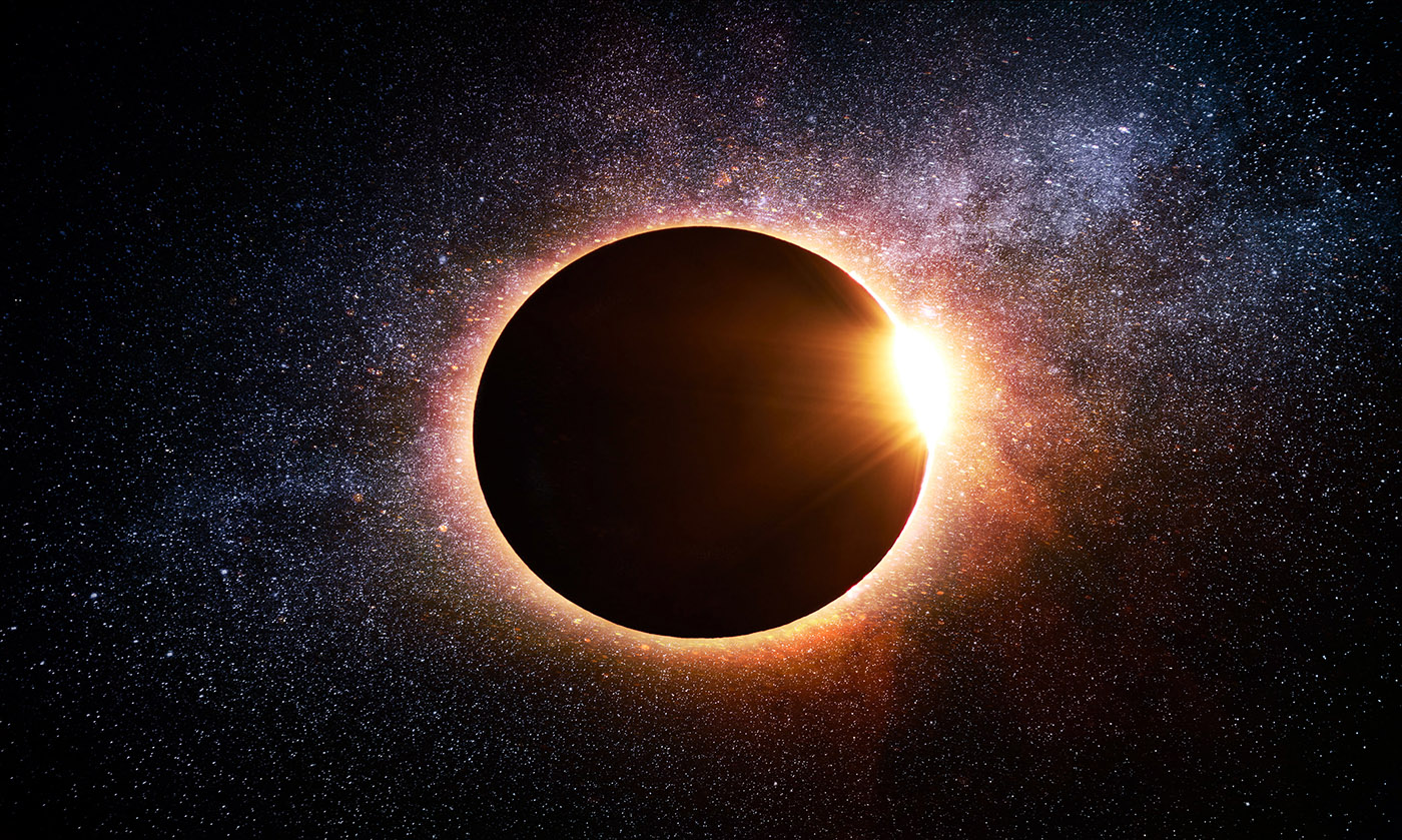 Solar Eclipse in Space - Stock Photos, Pictures & Images