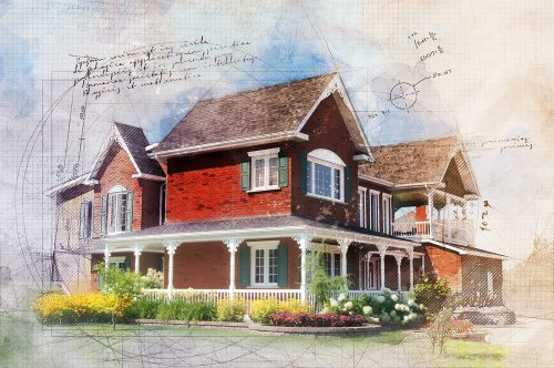 Beautiful Cottage Sketch Image - Stock Photos, Pictures & Images