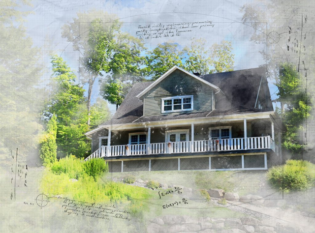 Beautiful Country House Sketch Image - Stock Photos, Pictures & Images
