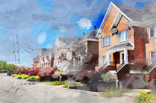 Colorful Urban Houses Sketch Image - Stock Photos, Pictures & Images