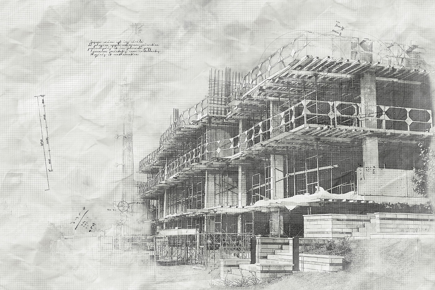 Construction Project Sketch B&W Image - Stock Photos, Pictures & Images