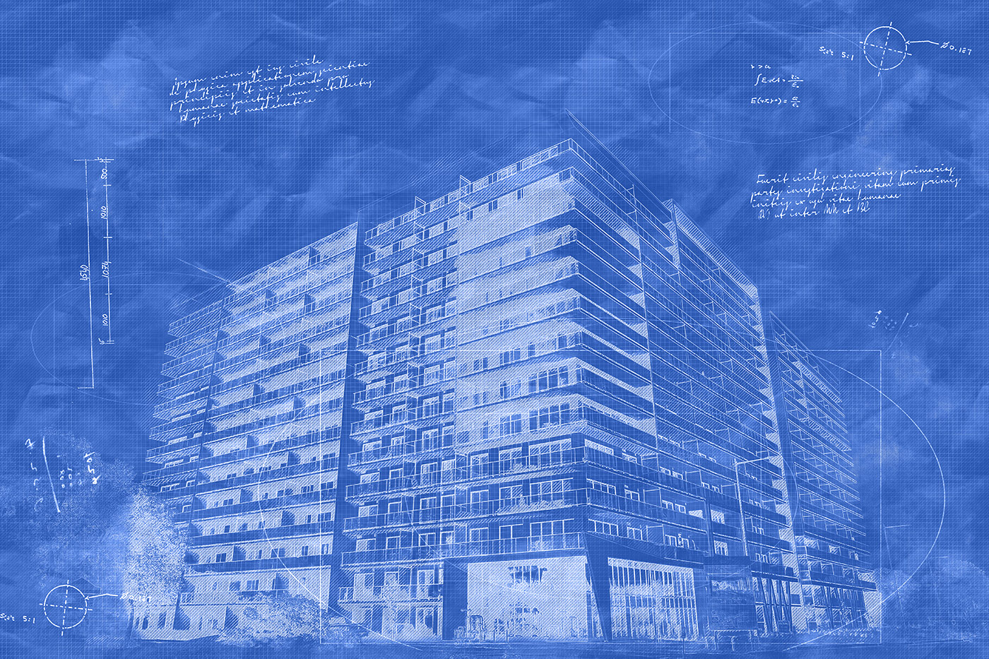 Large Condominium Building Sketch Blueprint Image - Stock Photos, Pictures & Images