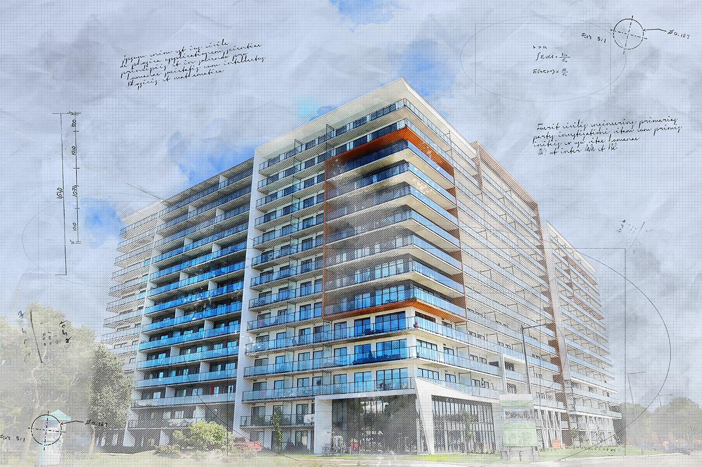Large Condominium Building Sketch Image - Stock Photos, Pictures & Images