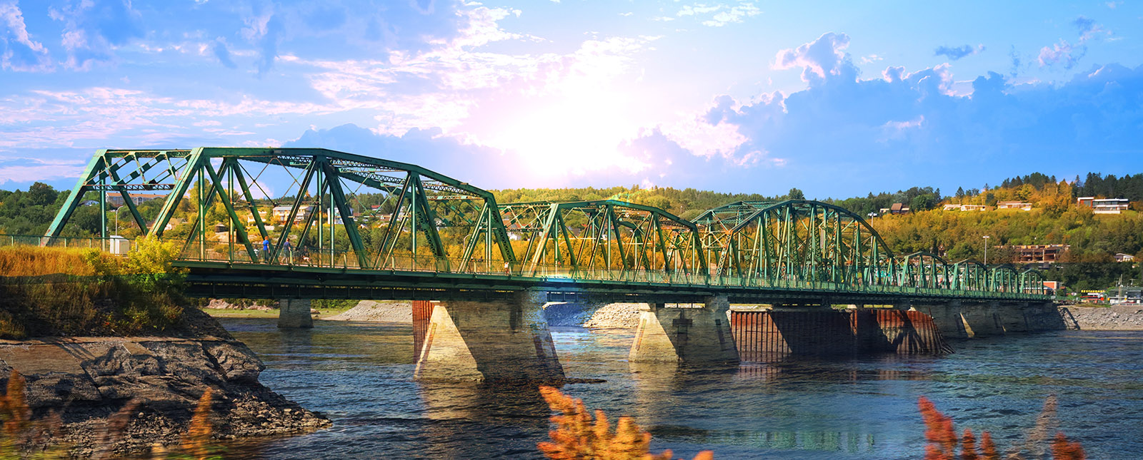 Old Saguenay Bridge and River - Stock Photos, Pictures & Images