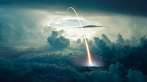 Missile Launch over the Cloudy Sky - Stock Photos, Pictures & Images