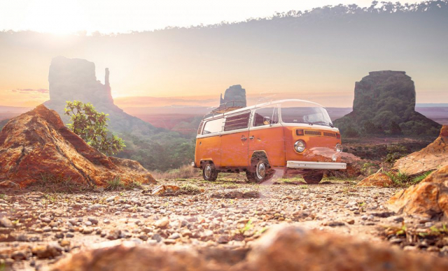 Vintage VW Camper Van Road Trip 01 - Stock Photos, Pictures & Images