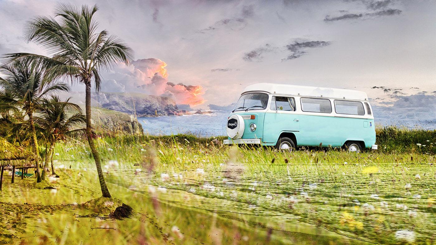 Vintage VW Camper Van Road Trip 02 - Stock Photos, Pictures & Images
