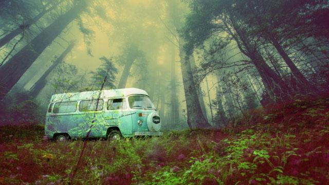 Vintage VW Camper Van Road Trip 03 - Stock Photos, Pictures & Images