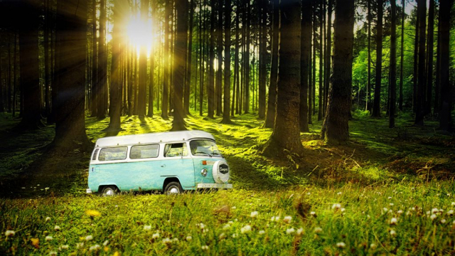Vintage VW Camper Van Road Trip 04 - Stock Photos, Pictures & Images