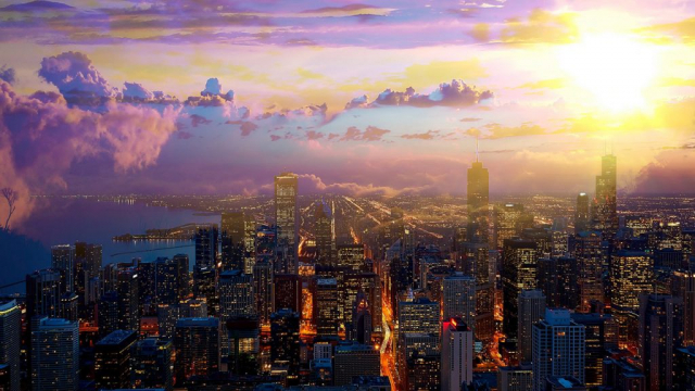 Beautiful Chicago City at Night 01 - Stock Photos, Pictures & Images