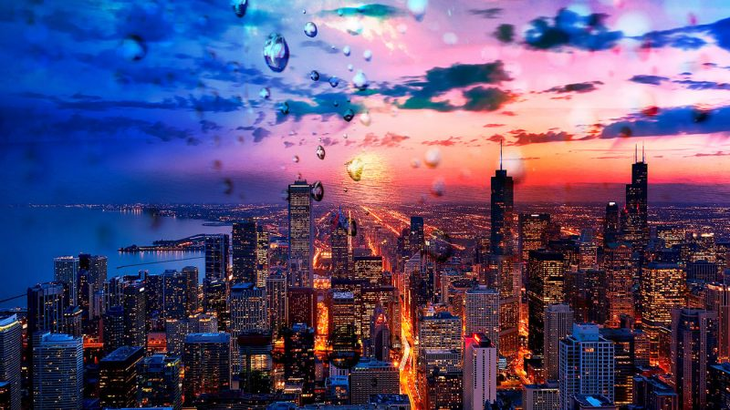 Beautiful Chicago City at Night 02 - Stock Photos, Pictures & Images