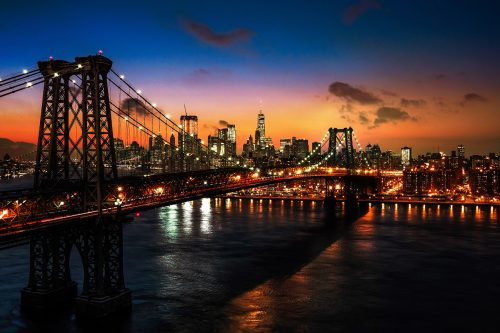 Colorful Sunset over the NYC Williamsburg Bridge 01 - Stock Photos, Pictures & Images