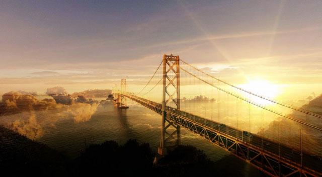 Surreal Suspension Bridge 02 - Stock Photos, Pictures & Images