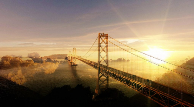 Surreal Suspension Bridge 02 - Stock Photos, Pictures & Images