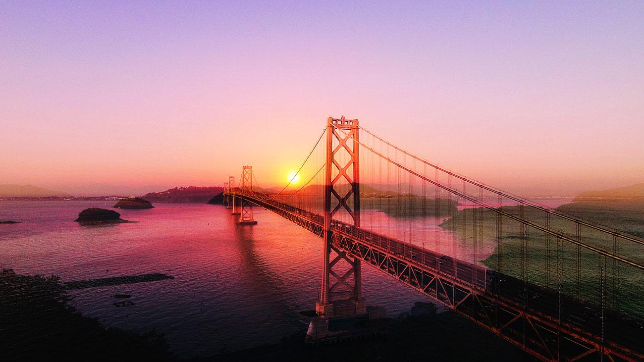 Surreal Suspension Bridge 03 - Stock Photos, Pictures & Images