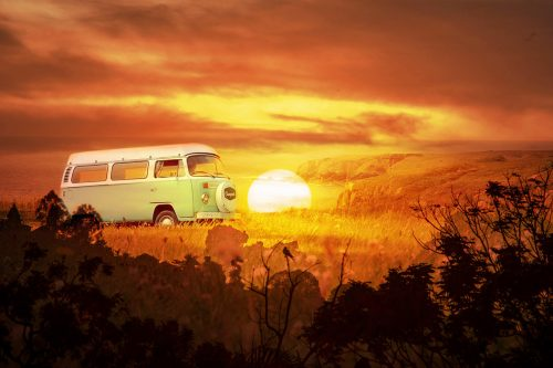 Vintage VW Camper Van Road Trip 05 - Stock Photos, Pictures & Images