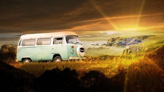 Vintage VW Camper Van Road Trip 06 - Stock Photos, Pictures & Images