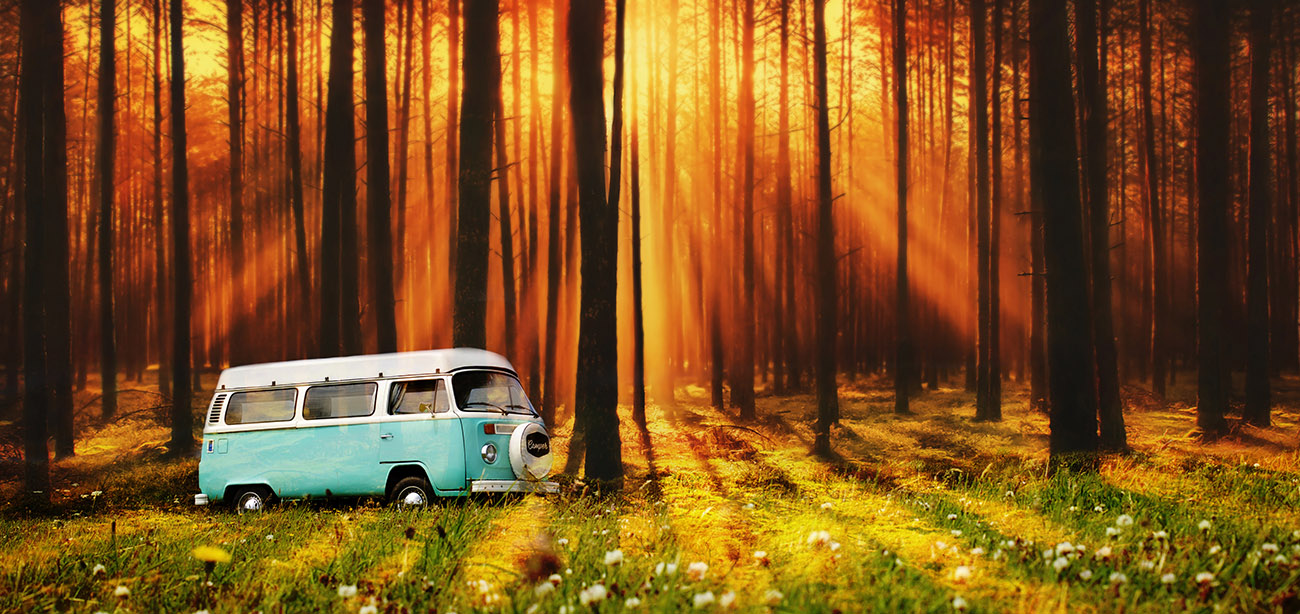 Vintage VW Camper Van Road Trip 07 - Stock Photos, Pictures & Images