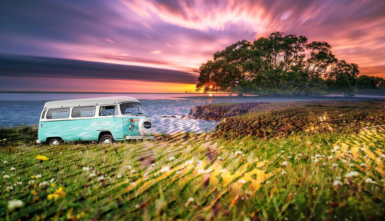 Vintage VW Camper Van Road Trip 08 - Stock Photos, Pictures & Images