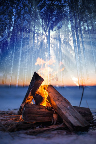 Wintery Wood Fire 01 - Stock Photos, Pictures & Images