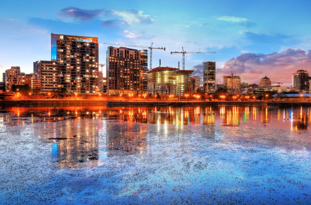 2020 Colorful Downtown Montreal Cityscape at Sunset - Stock Photos, Pictures & Images