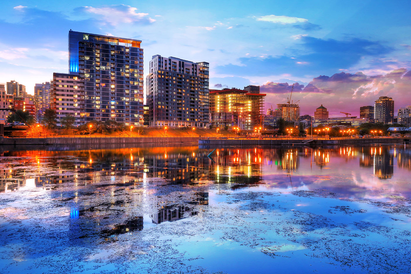 2020 Downtown Montreal City Water Reflection at Sunset - Stock Photos, Pictures & Images