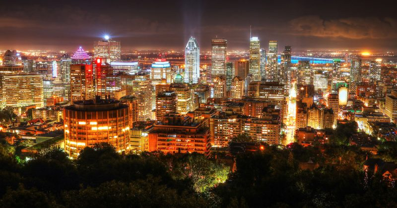 2020 Montreal City Sight at Night From Mount Royal Lookout - Stock Photos, Pictures & Images
