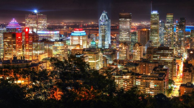 2020 Montreal City View at Night From Mount Royal Lookout Image - Stock Photos, Pictures & Images
