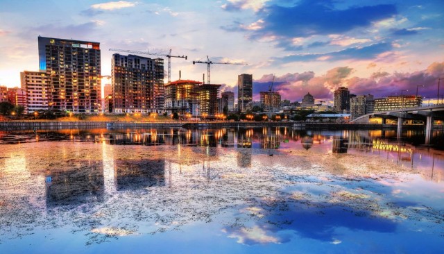 2020 Montreal City at Sunset with Water Reflection - Stock Photos, Pictures & Images