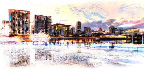 2020 Montreal Cityscape with Colorful Special Effect - Stock Photos, Pictures & Images
