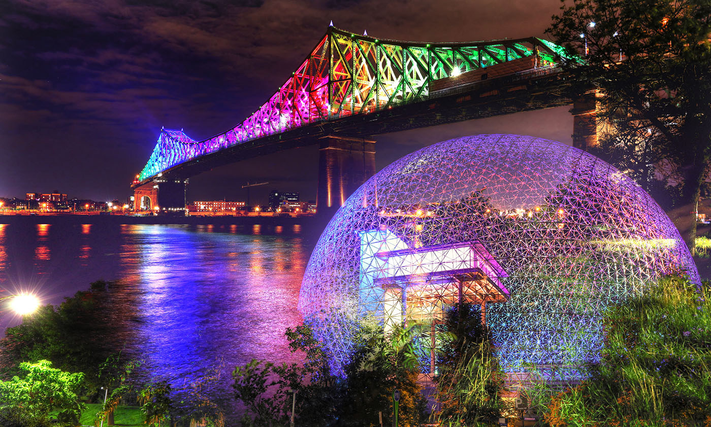 Montreal Jacques Cartier Bridge and Biosphere at Night Photo Montage - Stock Photos, Pictures & Images