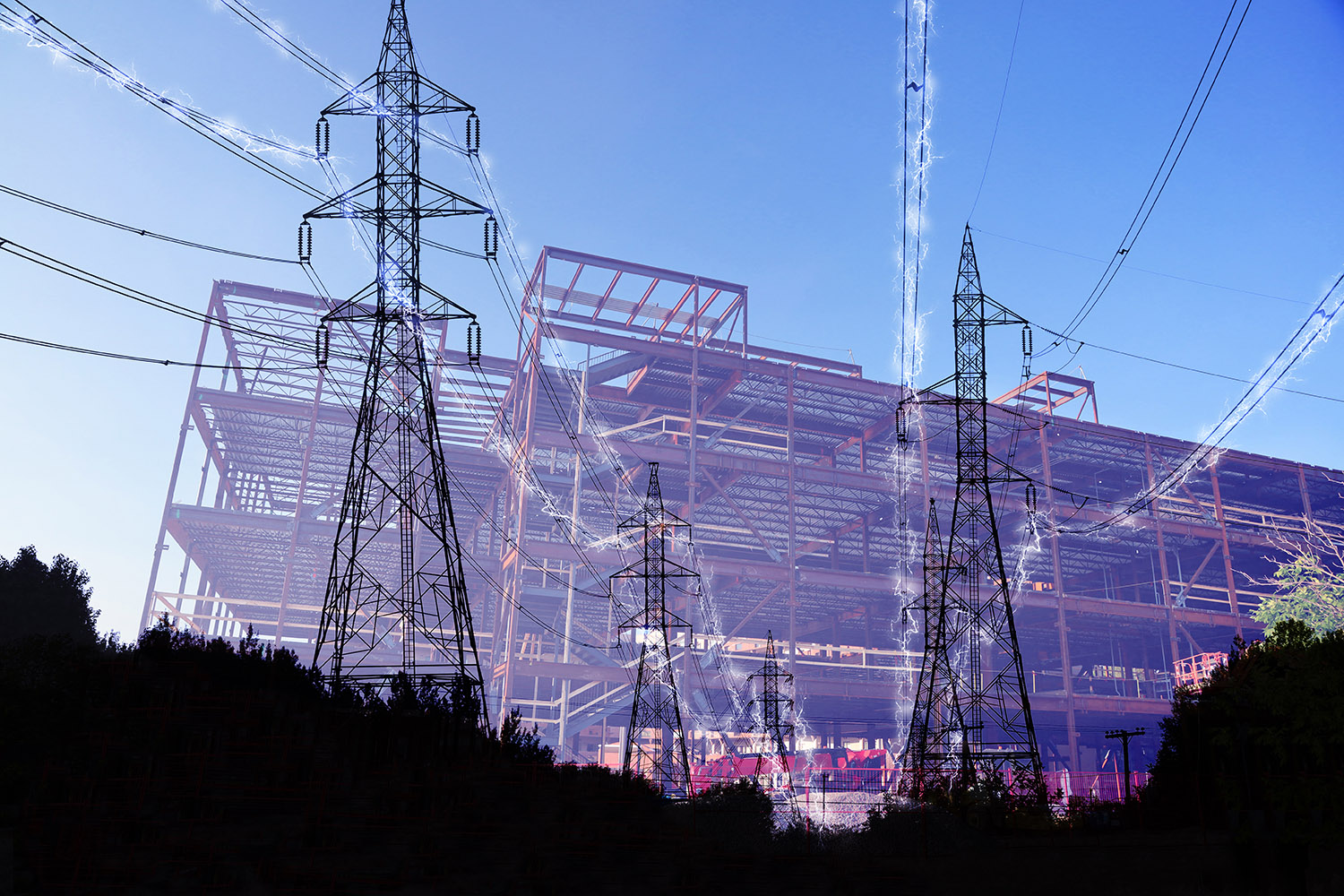 Construction Industry Electrification in Blue - Stock Photos, Pictures & Images