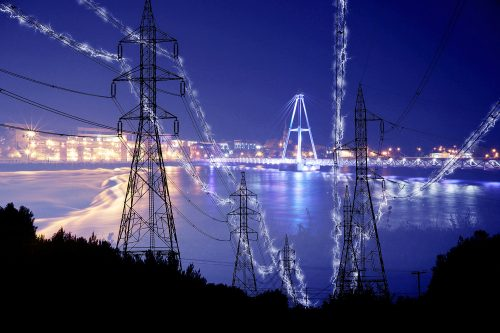 Small Town Electrification at Night in Blue - Stock Photos, Pictures & Images