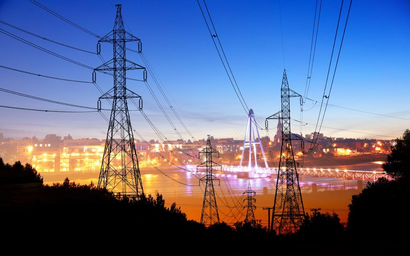Small Town Electrification at Sunset - Stock Photos, Pictures & Images