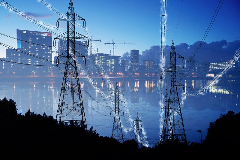 Urban Electrification Concept in Blue - Stock Photos, Pictures & Images