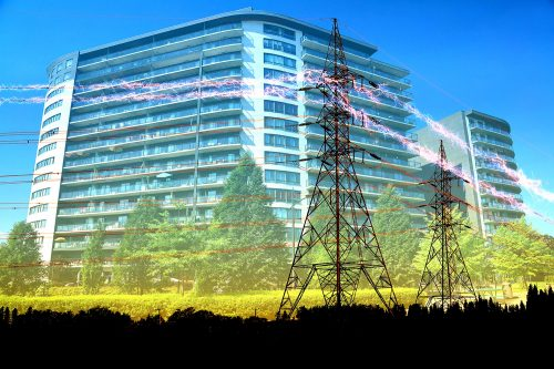 Urban Residential Building Electrification Concept - Stock Photos, Pictures & Images
