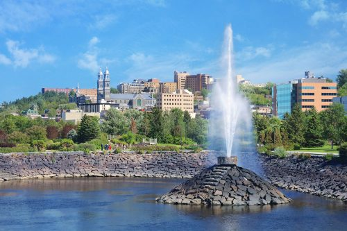 Chicoutimi City and Fountain over the Saguenay River